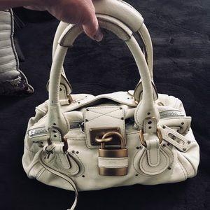 Chloé Paddington Cream Lock Beige Leather Handbag